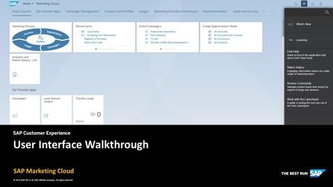 Thumbnail for entry User Interface Walkthrough - SAP Marketing Cloud
