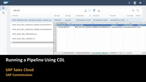 Thumbnail for entry Running a Pipeline Using CDL - SAP Commissions