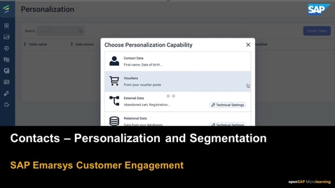 Thumbnail for entry Contacts - Personalization and Segmentation - SAP Emarsys Customer Engagement