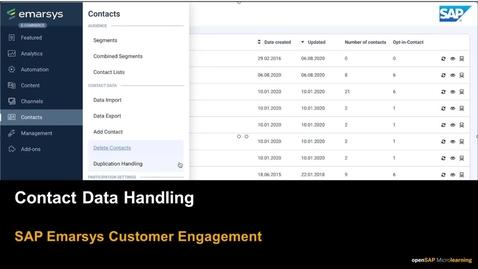 Thumbnail for entry Contact Data Handling - SAP Emarsys Customer Engagement