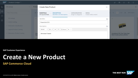 Thumbnail for entry Create a Product in Backoffice Product Cockpit - SAP Commerce Cloud