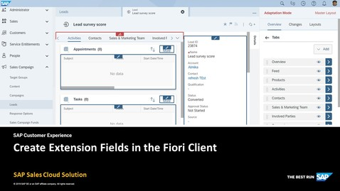 Thumbnail for entry Create Extension Fields in the Fiori Client - SAP Sales Cloud Solution
