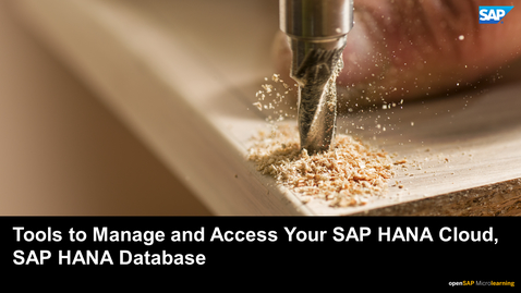Thumbnail for entry Tutorial 3: Tools to Manage and Access Your SAP HANA Cloud, SAP HANA Database
