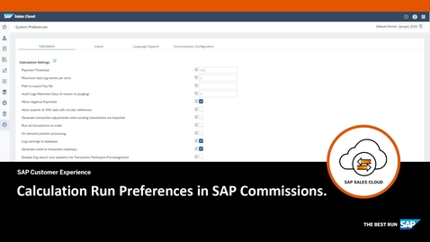Thumbnail for entry Calculation Run Preferences - SAP Commissions