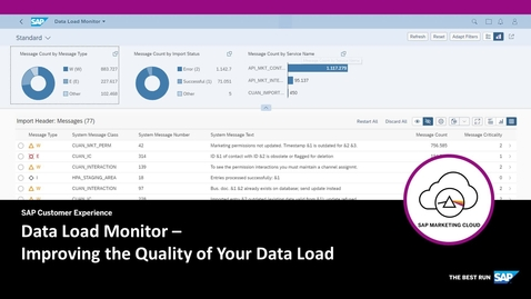 Data Load Monitor - SAP Marketing Cloud