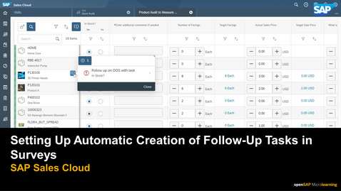 Thumbnail for entry Setting Up Automatic Creation of Follow-Up Tasks in Surveys - SAP Sales Cloud