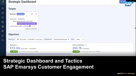 Thumbnail for entry Strategic Dashboard and Tactics - SAP Emarsys Customer Engagement
