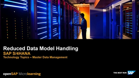 Thumbnail for entry Reduced Data Model Handling - SAP S/4HANA Technology Topics