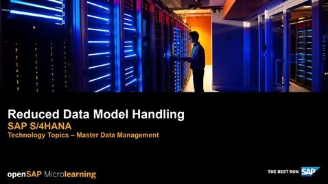 Thumbnail for entry Reduced Data Model Handling - SAP S/4HANA Technology Topics