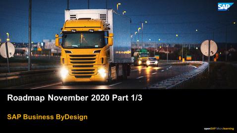 Thumbnail for entry Roadmap November 2020 Part 1/3 - SAP Business ByDesign