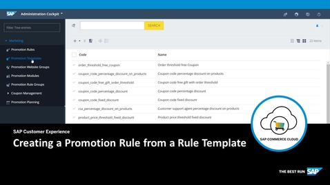 Thumbnail for entry Creating a Promotion Rule Based on a Template - SAP Commerce Cloud