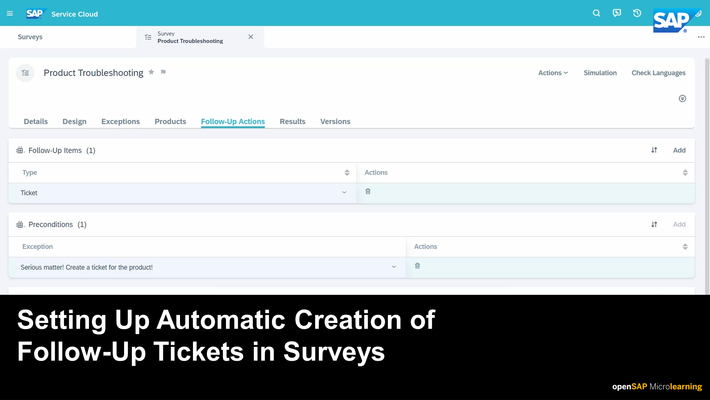 Setting Up Automatic Creation of Follow-Up Tickets in Surveys - SAP Sales Cloud