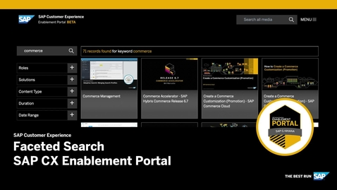 Thumbnail for entry [ARCHIVED] Faceted Search - SAP CX Enablement Portal
