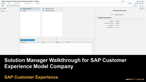 Thumbnail for entry Solution Manager Walkthrough for SAP Customer Experience  Model Company