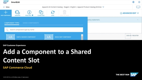 Thumbnail for entry Add a Component to a Shared Content Slot - SAP Commerce Cloud