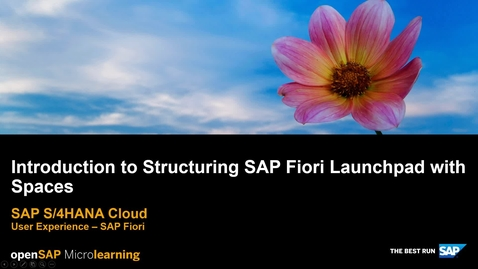 Thumbnail for entry Introduction to Structuring SAP Fiori Launchpad with Spaces - SAP S/4HANA User Experience
