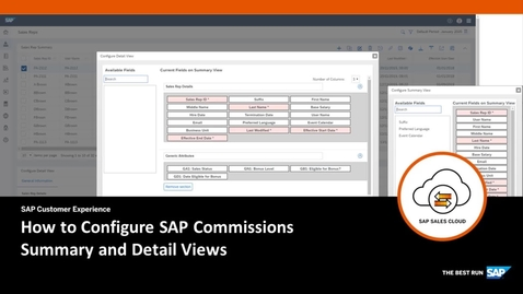 Thumbnail for entry Configuring Summary and Detail Views - SAP Commissions