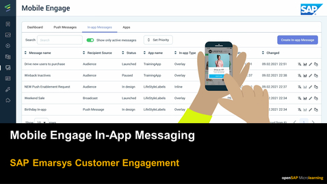 Thumbnail for entry Mobile Engage: In-App Messaging - SAP Emarsys Customer Engagement