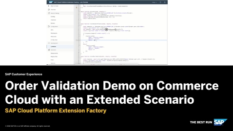 Thumbnail for entry Order Validation Demo Extended Scenario - SAP Cloud Platform Kyma Runtime