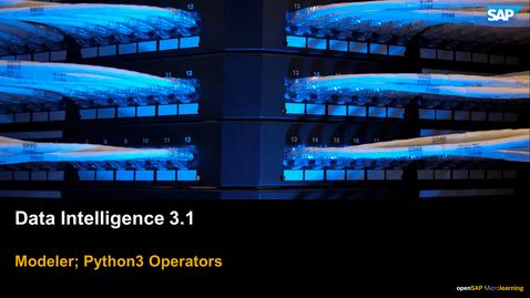 Thumbnail for entry Python Operators - SAP Data Intelligence