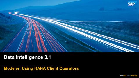 Thumbnail for entry SAP HANA Clients - SAP Data Intelligence