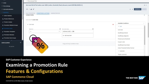 Examining a Promotion Rule in Backoffice Administration Cockpit - SAP Commerce Cloud