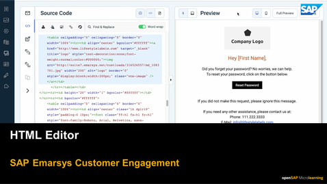 Thumbnail for entry HTML Editor - SAP Emarsys Customer Engagement