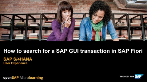 Thumbnail for entry How to Search for a SAP GUI Transaction in SAP Fiori - SAP S/4HANA User Experience