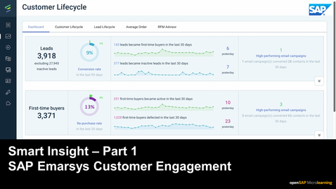 Thumbnail for entry Smart Insight - Part 1 - SAP Emarsys Customer Engagement