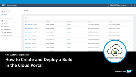 Thumbnail for entry How to Create and Deploy a Build in the Cloud Portal - SAP Commerce Cloud