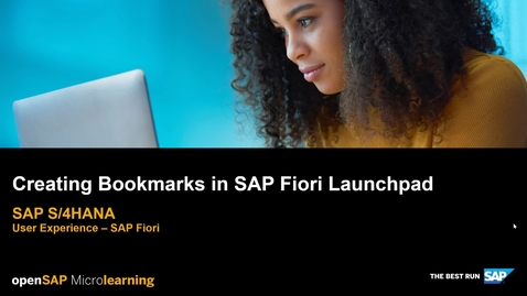 Thumbnail for entry Creating Bookmarks in SAP Fiori Launchpad - SAP S/4HANA User Experience