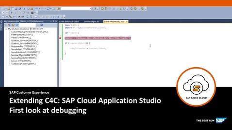 Thumbnail for entry Debugging - Extending SAP Cloud for Customer