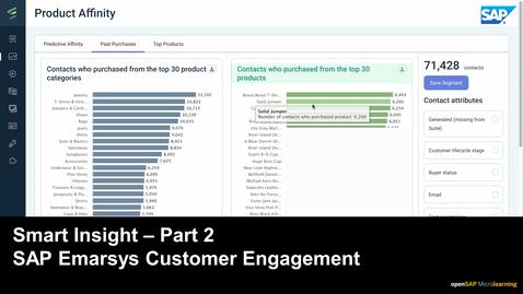 Thumbnail for entry Smart Insight - Part 2 - SAP Emarsys Customer Engagement