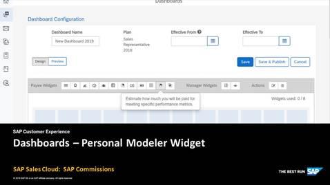 Dashboards - Personal Modeler Widget
