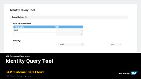 Thumbnail for entry Identity Query Tool - SAP Customer Data Cloud
