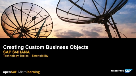 Thumbnail for entry Creating Custom Business Objects - SAP S/4HANA Technology Topics