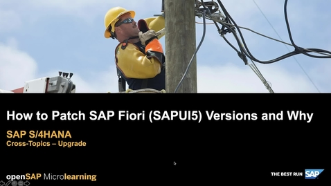 Thumbnail for entry How to Patch SAP Fiori (SAPUI5) and Why - SAP S/4HANA Cross-Topics - Upgrade