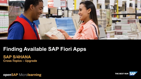 Thumbnail for entry Finding Available SAP Fiori Apps - SAP S/4HANA Cross-Topics