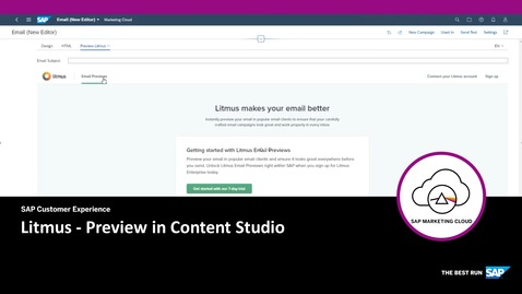 Litmus Preview in Content Studio - SAP Marketing Cloud