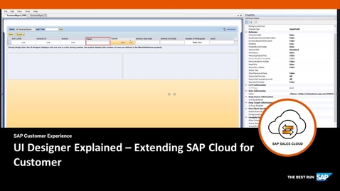 Thumbnail for entry UI Designer Explained - Extending SAP Cloud for Customer
