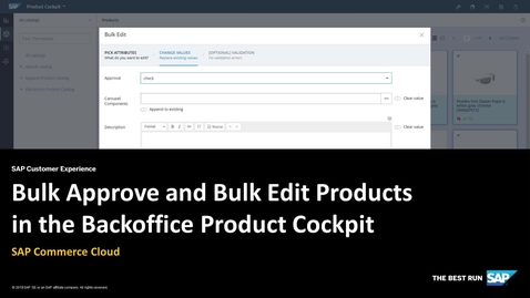 Thumbnail for entry Bulk Approve and Bulk Edit Products - SAP Commerce Cloud