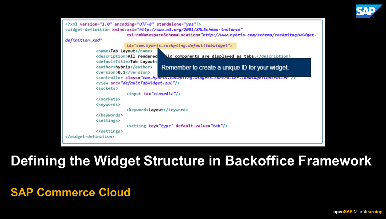 Defining the Widget Structure in Backoffice Framework - SAP Commerce Cloud