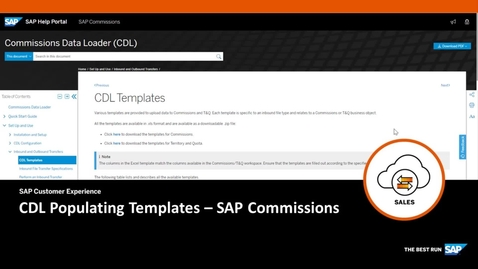 Thumbnail for entry CDL Populating Templates - SAP Commissions