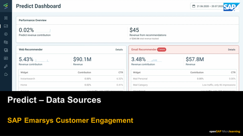 Thumbnail for entry Predict: Data Sources - SAP Emarsys Customer Engagement