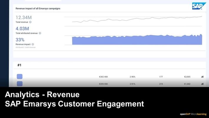 Analytics -  Revenue - SAP Emarsys Customer Engagement