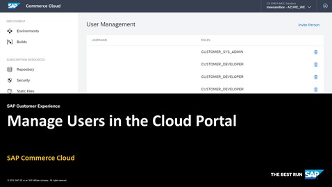 Thumbnail for entry [ARCHIVED] Manage Users in the Cloud Portal - SAP Commerce Cloud