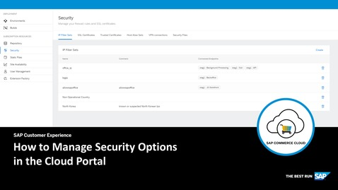 Thumbnail for entry How to Manage Security Options in the Cloud Portal
