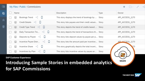 Thumbnail for entry Introducing Sample Stories for embedded analytics in SAP Commissions