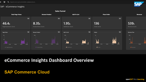 Thumbnail for entry E-Commerce Insights Dashboard Overview in Dynatrace - SAP Commerce Cloud