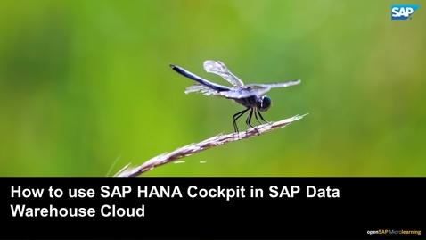 Thumbnail for entry Connecting to SAP HANA Cockpit - SAP Data Warehouse Cloud